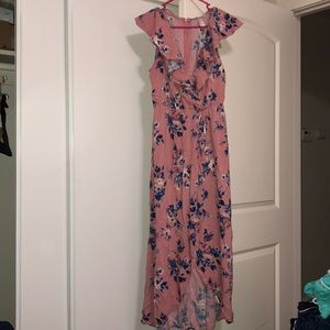 Blush pink and blue Maxi Dress size M